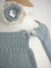 Cornflower Blue Summer Cape (Hand Knitted Things) Tags: uk summer holiday design spring knitting pretty hand handmade shell knit things cotton button cape knitted corsage powderblue capelet lightweight handknittedthings