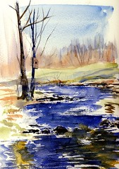 The Water is High (Artist Naturalist-Mike Sherman) Tags: art painting michigan aquarelle earlyspring mtpleasant millpondpark chippewariver