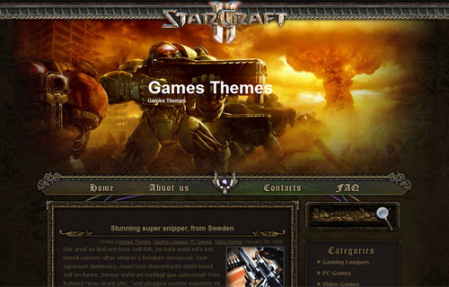 Free WordPress Starcraft II Theme Template by Free Web Themes Templates.