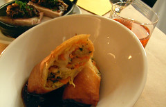 Pheasant confit spring roll and sweet and sour chestnuts @ Damon's Frugal Friday