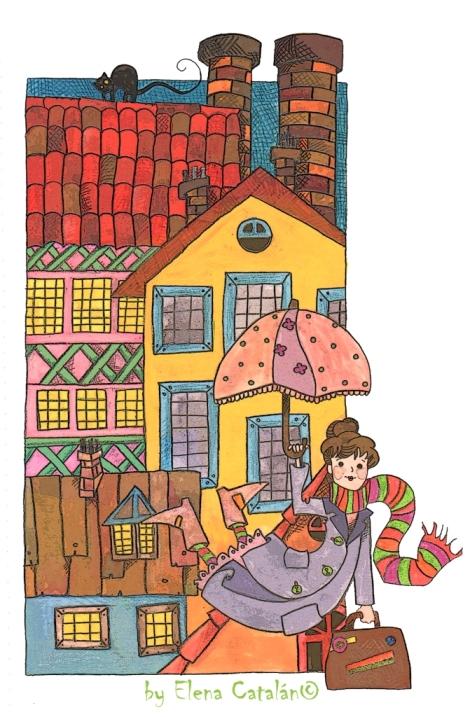 Mary Poppins Ilustración infantil