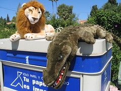Discarded Lion and Crocodile (timandpep) Tags: canon toys crosseyed furry teeth lion palmtrees crocodile paws stuffedtoys mane marbella goldenmile a560 canonpowershota560 powershota560 crosseyedlion 58lcn33