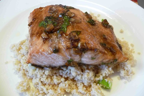 Broiled Salmon with Garlic & Mint Sauce
