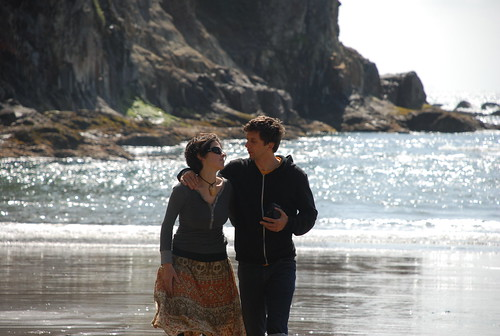 kat giving reid that look at the beach