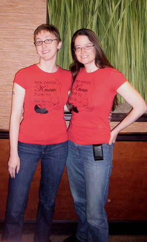"""Elizabeth and I both wore Dacia's """"Sex Nerds Know How To Do It"""" shirt"""