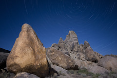 The Alabama Hills, California by Moonlight (After Dark Photo) Tags: longexposure moon lightpainting mountains stars wideangle fullmoon hills moonlit granite moonlight sierranevada lonepine startrails highway395 alabamahills sigma1020 easternsierranevadas canon40d may2009fullmoon