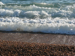 Waves on Chesil Beach (Katie-Rose) Tags: uk sea sun beach coast surf waves pebbles explore dorset chesilbeach froth katierose canonpowershota700 jurasiccoast goldenbee