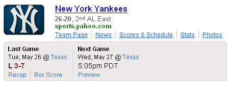 Yahoo! Search Sports Team Shortcut - Yankees