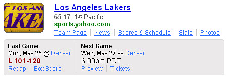 Yahoo! Search Sports Team Shortcut - Lakers