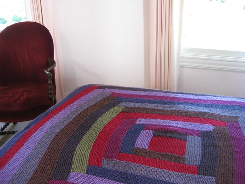 red and purple log cabin blanket