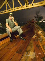 Art Valdez at the front of the Balangay