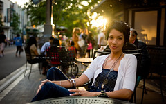 The Grove 2009 (isayx3) Tags: portrait sun girl female 35mm outdoors losangeles cafe nikon sitting glare dof thegrove bokeh anniversary naturallight sidewalk wife f2 2009 d3 plainjoe isayx3