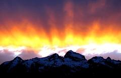 Grand Teton Mountain Sunset Glory, Wyoming (moonjazz) Tags: sky orange mountains color nature yellow clouds america wonder nationalpark unitedstates glory alpine hues refraction wyoming wilderness awe range grandtetonnationalpark flickrlovers