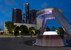 Hart Plaza 1 (Aaron Fortin) Tags: longexposure fountain night landscape gm michigan detroit rencen pavers hartplaza