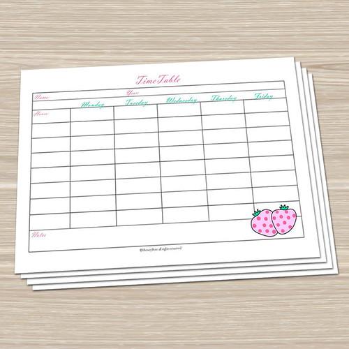 timetables for kids printable &