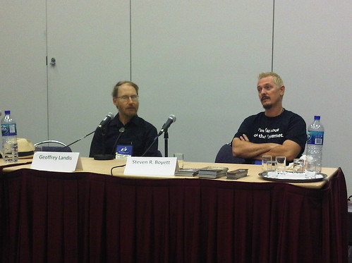 Me & Geoffrey Landis on the Textbooks of the Future panel. Photo by jmcdaid