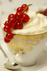 Cream and Raspberries in a Coffee Cup