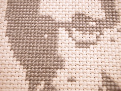Woody Allen (Stitch Out Loud) Tags: celebrity crossstitch profile gray craft popart woodyallen stitchoutloud