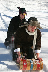 Men in Kilts...Toboggan (T. Esau-McCracken Photography) Tags: park snow cold men minnesota kilt scottish february sled ramble toboggan minnehaha