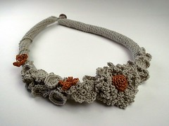 Taupe and vintage gold crochet necklace with flower (mihokuma.) Tags: flowers fashion spring beige crochet cotton etsy handcraft taupe accessory yarns antiquegold