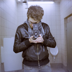 Seagull 0211 (ukaaa) Tags: white selfportrait black reflection 120 6x6 tlr film me leather analog scarf myself square bathroom mirror parkinglot belgium kodak belgi charlie negative jacket tiles medium mf portra400nc analogue uka portra ghent gent canoscan toilets twinlensreflex kouter 8800f haiou seagull4a103 ukaaa