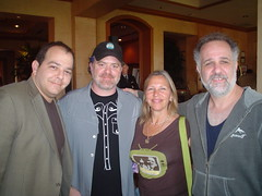 Jody Denberg (at right) with KGSRs Andy Langer, Bryan Beck and Susan Castle (l to r)