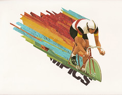 76 olympics #1 (Matthew Partridge) Tags: collage vintage paper print found cycling design store graphic cut paste gear thrift german fixed material posers scraps athlete velodrome 1976