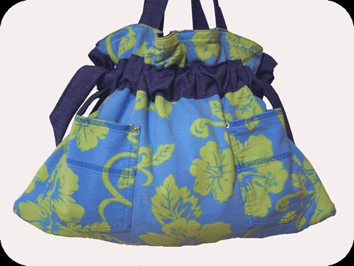 Handmade daisydenims Hawaiian Hibiscus Flowers Denim Drawstring Handbag Purse