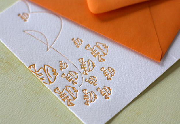 Froggie Letterpress Note Card 4Bar