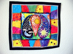 Celestial Paisley finished (cymberrain) Tags: pink blue sun moon color art yellow stars colorful purple needlework embroidery sewing tapis patchwork paisley applique couture crazyquilt embellished couleur handstitched dyed celestial celeste creations wallhanging handdyed fiberarts broderie saturatedcolor artsplastiques brightcolored couleursvives loisirscreatifs celestialpaisleys teintureartisinale