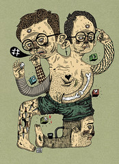 _ (pearpicker.) Tags: hairy illustration glasses drawing ugly bones cubes knives digitally mutation pearpicker benerohlmann