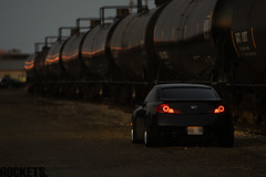 G-angster (Rockets.) Tags: cars cn train canon is edmonton rail l 28 70200 g35 infiniti iforged 50d