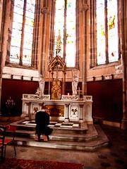 Praying stance (sickpromo.net) Tags: old france church window shrine catholic praying kneeling cicatrix vesoul