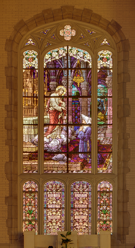 Former Daughters of Charity chapel, at the University of Missouri - Saint Louis, in Normandy, Missouri, USA - stained glass window 1