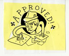 Pat McHale approval stamp, original art