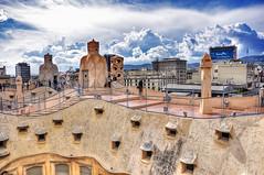 The Two Faces of Art (Faddoush) Tags: barcelona sky art clouds casa spain nikon faces daniel mila espana gaudi hdr lapedrera barenboim d90 faddoush
