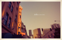 Balboa Theater (isayx3) Tags: film vintage lights nikon theater sandiego bokeh grain retro 24mm nikkor balboa f28 d3 gaslampdistrict oof hbw happybokehwednesday