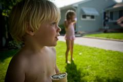 Ode to the Ice Cream Truck (brownscorpios) Tags: summer grass kids yard cone daughter lawn nj son neighborhood icecream summertime neighbor icecreamtruck bathingsuits icecreamcone overandover 2yo turkeyinthestraw 5yo mylawn parentaltorture