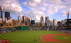 Pittsburgh Skyline from PNC Park (Scott Michaels) Tags: park city skyline nikon pittsburgh baseball pncpark mellon cloudscapes pittsburghpirates pnc westernpennsylvania sigma1020mm highmark buccos fifthavenueplace d40 clementebridge upmc ussteelbuilding perfectsunsetssunrisesandskys klgates