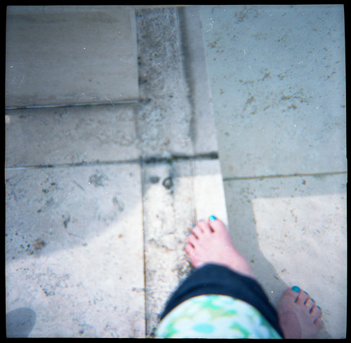 Blue Toes in the Getty Fountain