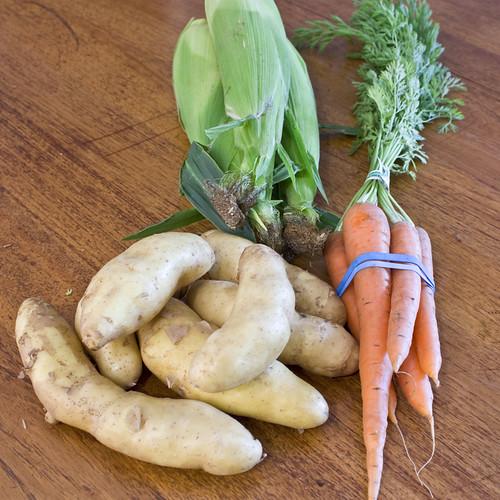 potatoes carrots corn