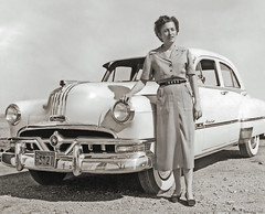 RIP Pontiac (newmexico51) Tags: old woman fashion vintage hair found photo belt shoes texas foto dress antique clothes chrome photograph pontiac hoodornament 1953