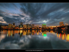 Portland Oregon Downtown Skyline at Dusk (David Gn Photography) Tags: sunset skyline oregon portland downtown dusk hawthornebridge willametteriver hdr morrisonbridge eastbankesplanade photomatix bluehours sigma1020mmf35exdchsm canoneosrebelt1i