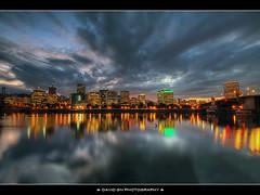 Portland Oregon Downtown Skyline at Dusk (David Gn Photography) Tags: sunset skyline oregon portland downtown dusk hawthornebridge willametteriver hdr morrisonbridge eastbankesplanade photomatix bluehours sigma1020mmf35exdchsm canoneosrebelt1i