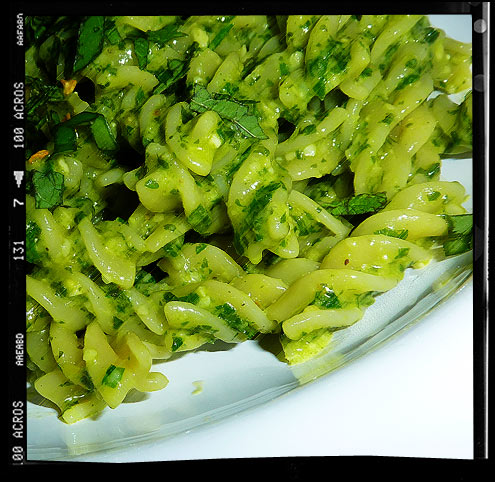 Fusilli with 3 herb pesto