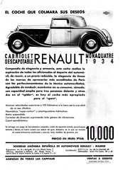 1934 Renault Monaquatre Cabriolet Ad (Spain) (aldenjewell) Tags: spain ad renault 1934 cabriolet monaquatre