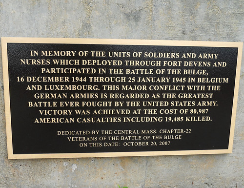 plaque honoring Battle of the Bulge (by: Ft Devens Museum)