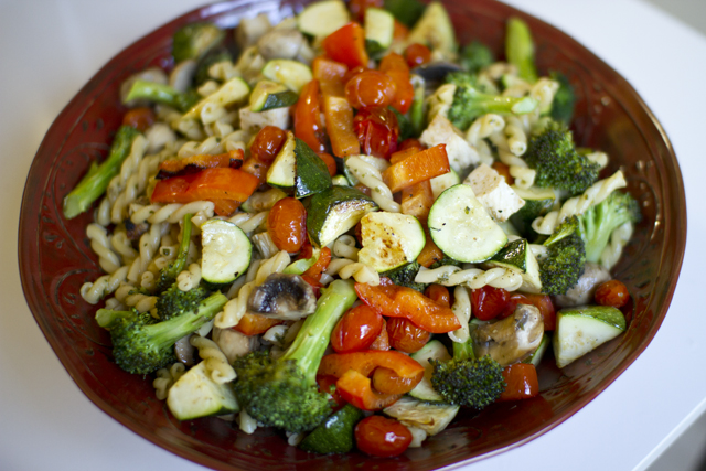 157.veggie pasta salad. emphasis on veggie.