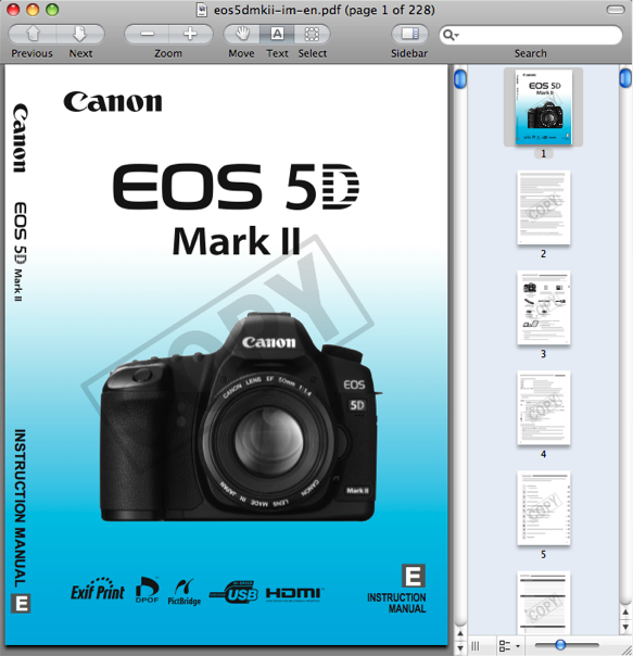 Canon EOS 5D Mark II Instruction Manual