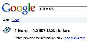 Google Exchange Rate